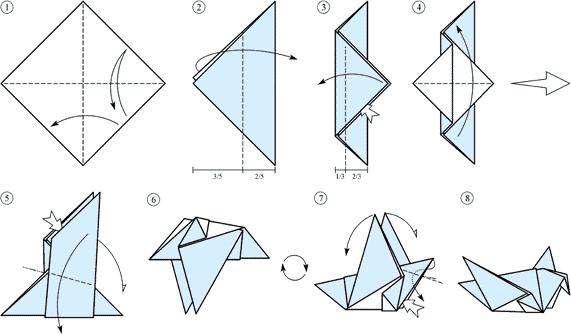 Простая оригами схема: голубь