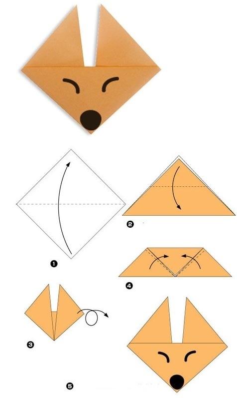 Лиса: оригами схема для детей