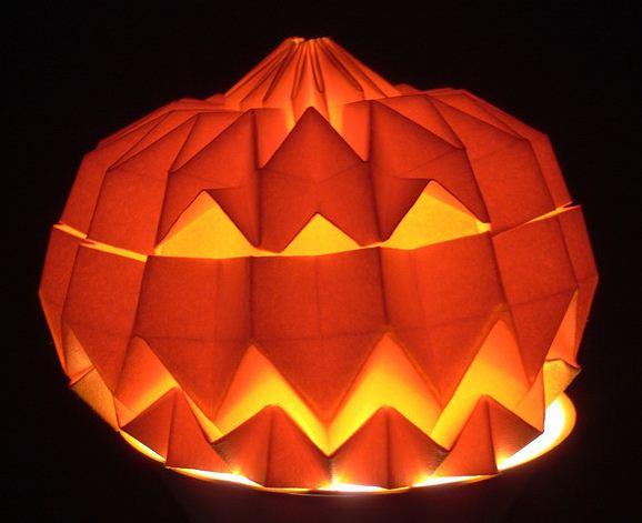 Оригами тыква на Хэллоуин