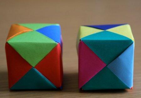 Оригами сборка: собираем объемный куб по видео