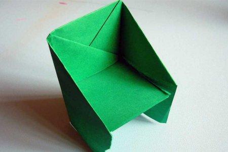 Стул из бумаги: простая оригами схема