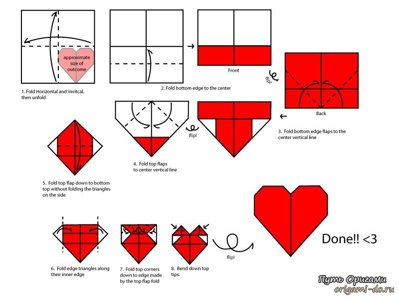 Как сделать объёмное сердце из бумаги оригами