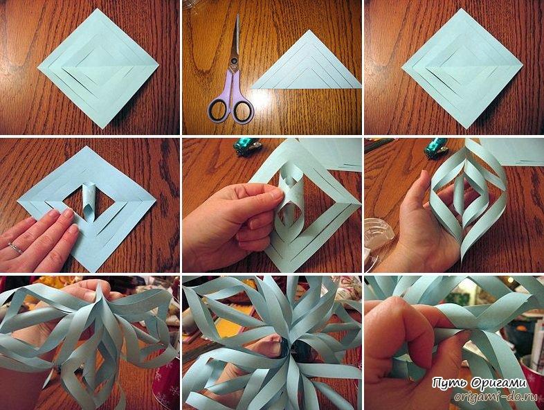 Снежинки оригами из бумаги своими руками