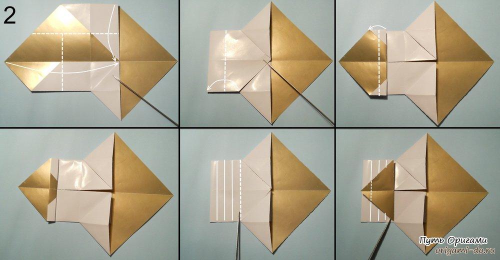 оригами снеговик схема 2.