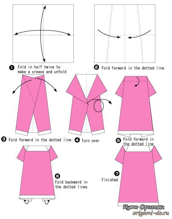 Простое платье оригами