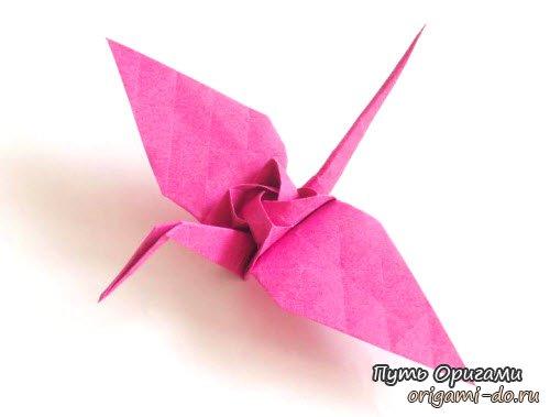 красивый журавлик с розой