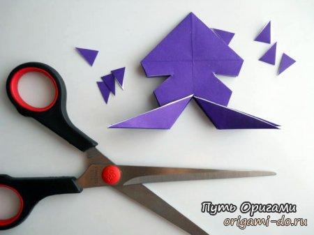 Осьминог - простое оригами для детей.