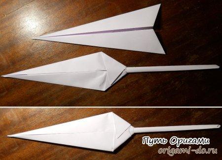 Как сделать из бумаги нож без клея и скотча из 1 листа