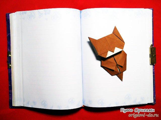 котенок в стиле оригами