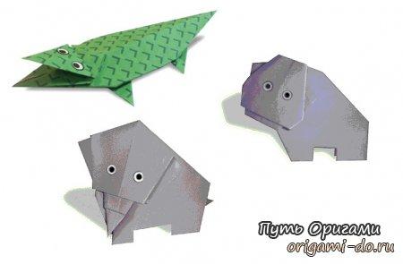 Итак, первая схема - оригами крокодил.  Собирается поделка из одного квадратного листа бумаги и вмещает 31 шаг.