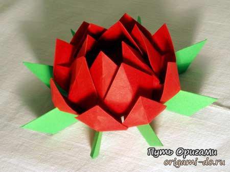о сборке оригами лотоса.