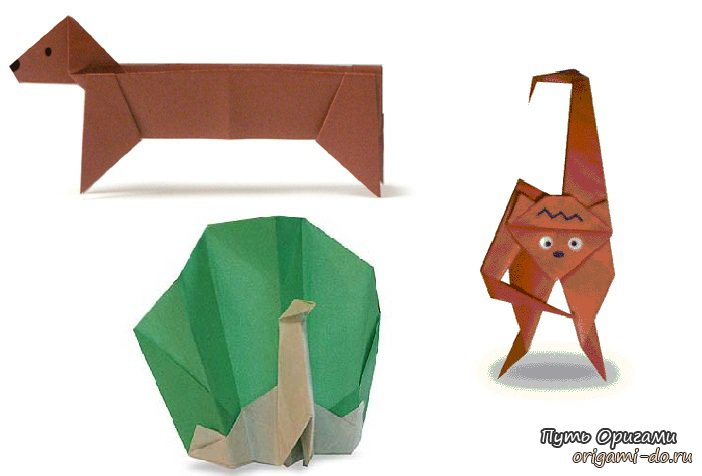 Оригами для детей – такса,