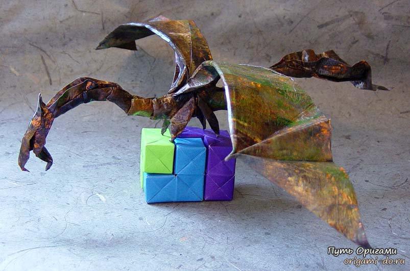 Летящий дракон оригами - схема