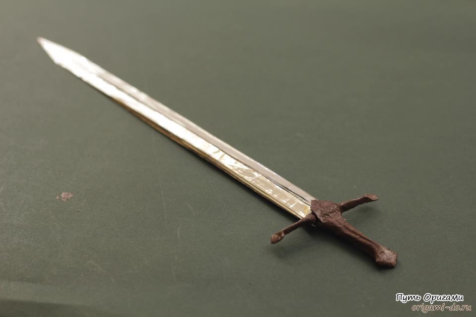 Оригами меч Нарсил по схеме