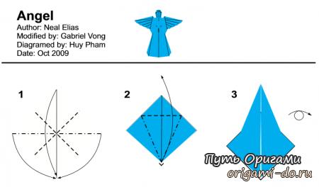 Оригами ангел <em>ангел</em> по схеме Neal Elias