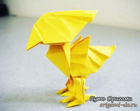 **Оригами птичка Chocobo из Final Fantasy