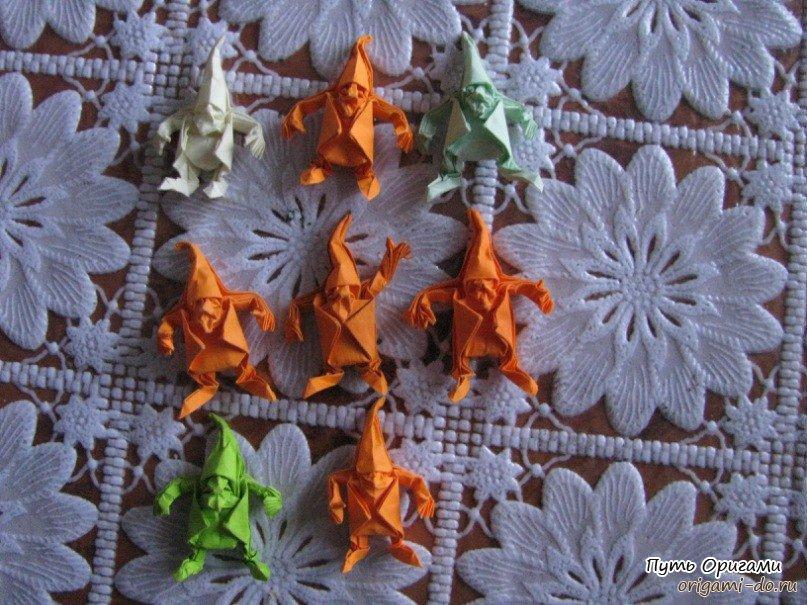 Оригами гном по схеме Эрика