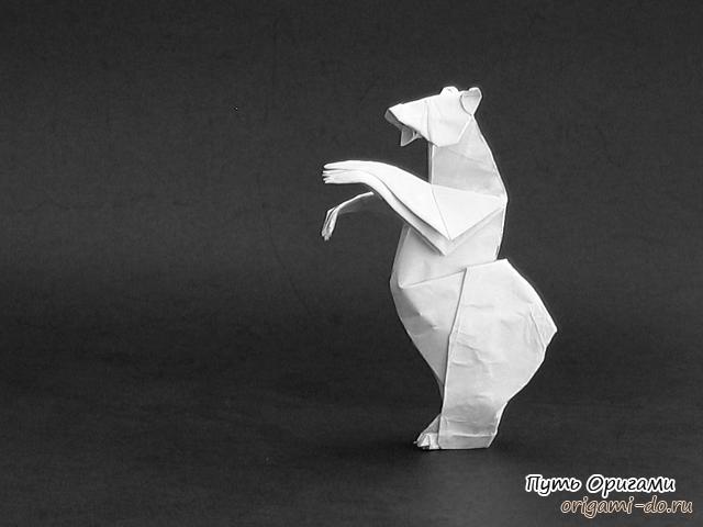 Медведь гризли – оригами схема