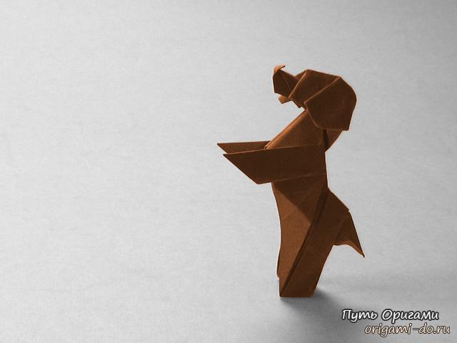 Симпатичная оригами собачка