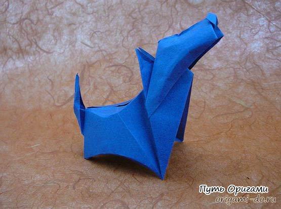 Оригами собачка породы терьер,