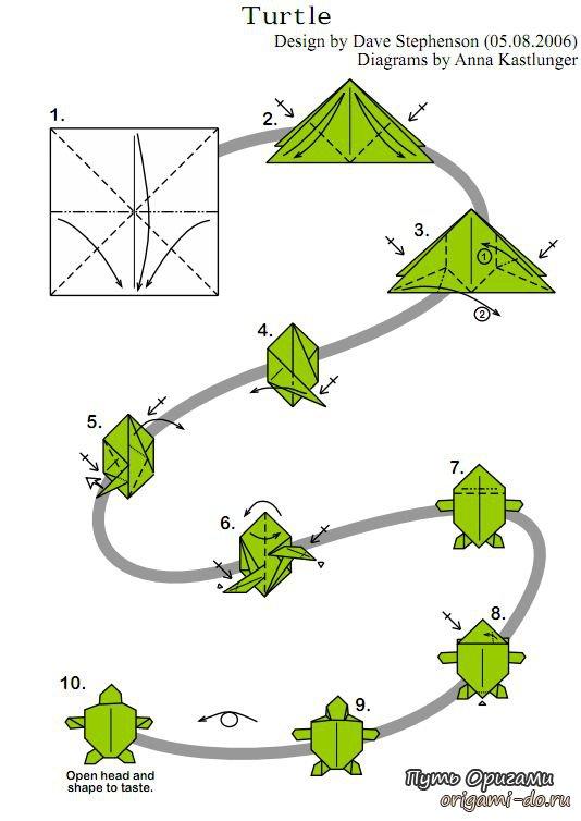 Оригами черепашка, оригами