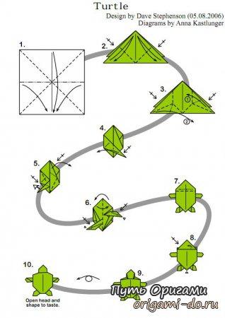 Оригами черепашка, оригами морской конек